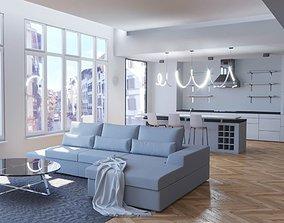 3D asset Modern living room with kitchen