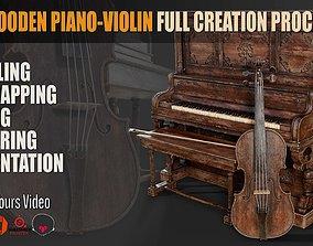 3D model Old Wooden PianoViolin Full Creation Process