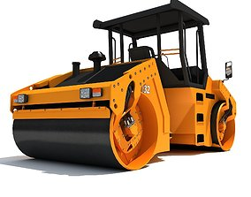 3D model Yellow industrial road roller