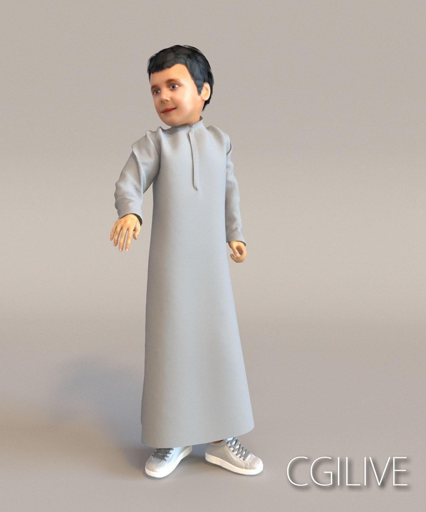 1x Arabic real cloth loop animated boy for testing
