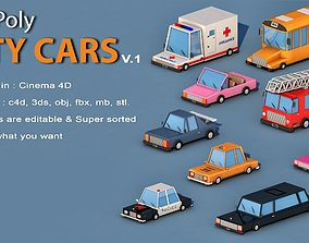3D asset realtime Cartoon City Cars v1
