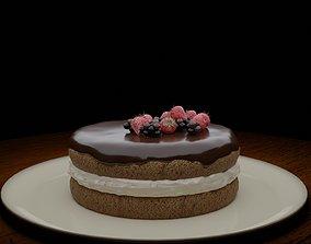 3D asset low-poly Fruit Chocolate Vanilla Cake