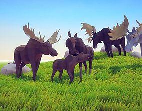 Poly Art Moose 3D asset