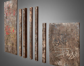 Old Plywood Set - PBR Game Ready 3D model