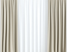 interior 3D Beige curtains with tulle