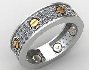 Cart Love Diamond Gold Ring 3D print model