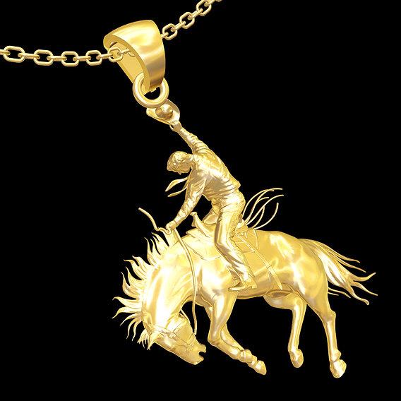 Cowboy Sculpture pendant jewelry gold necklace 3D print model