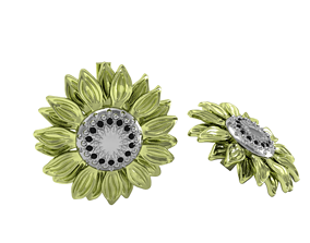 3D printable model sunflower earrings gold