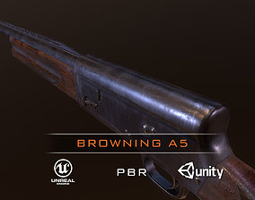 3D asset game-ready Browning A5 Shotgun low-poly pbr
