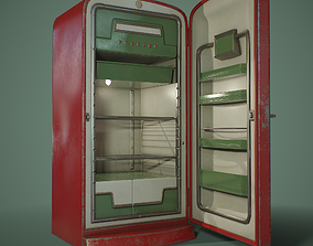 PBR Retro Refrigerator 3D model