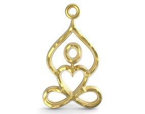 yoga pendant infinite heart jewelry 3D print model