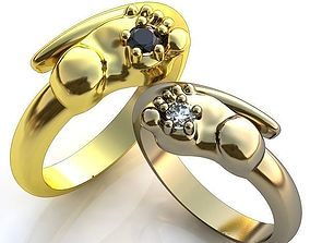3D print model Gold Metal Wedding Rings with Diamonds