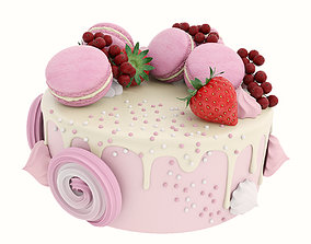 Pink cake with macaroons 3D model