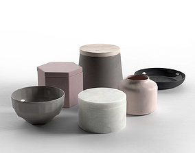 living Storage Jars Bowls and Plate 3D