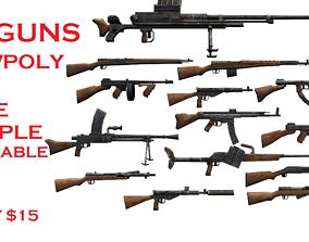 46 GUNS PACK 3D asset