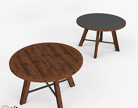 Zinc-Top Railway Trestle Round Dining Table by 3D model 1