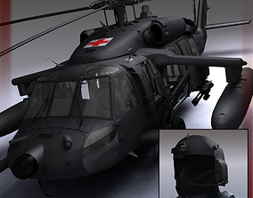3D Battlehawk Military Helicopter