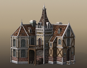3D model timbered Victorian Mansion