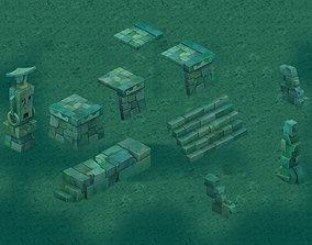 3D model Cartoon version - Maya ruins