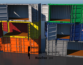 Shipping Container 20ft Dry Van Open Side Rigged 3D rigged