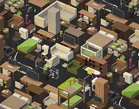 100 object Isometric Home Office Furniture 3D model 1