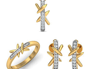 Rhino 3D CAD File Jewelry Set Ring Pendant Earring 3D 2