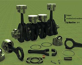 Pistons crankshaft set 3D