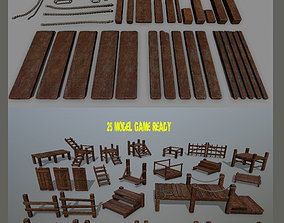 3D model Wood and Rope set