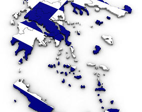 3D model Political Map of Greece