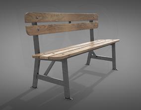 wood Bench 3D model PBR