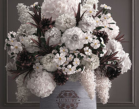 Bouquet white of flowers in a gift box 3D model