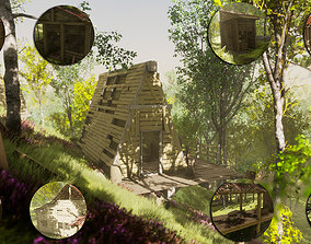 Wood Huts - House - Destroyed Old - Building - 3D asset 2