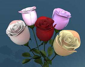 Rose multicolor low poly 3D asset