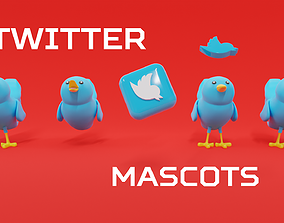 3D model Twitter Social Media Mascot