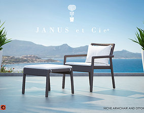 Niche Lounge and Ottoman from Janus et Cie 3D model