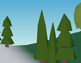 3D model lowpoly Cartoon Classic Trees 3