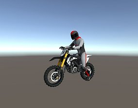 3D asset Low Poly Dirt Bike With Rider-5