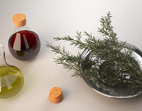 3D Bottles of olive oil and vinegar with rosemary