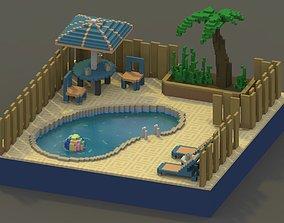 3D asset Backyard Pool Voxel Scene