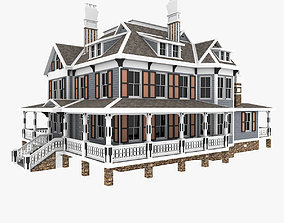 Classical American Old Woodframe House 3D