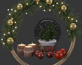 Christmas ball and wreath 3D