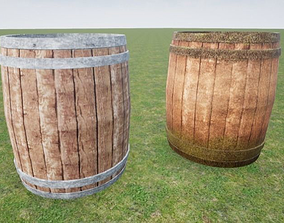 Barrel Set Clean and Weathered 3D asset