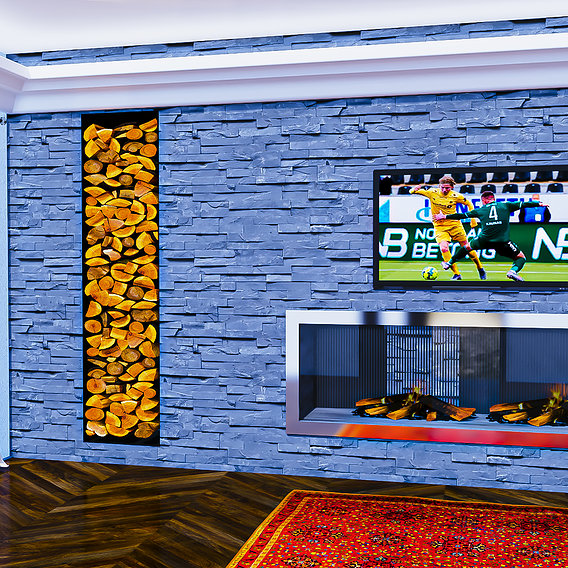 Fireplace wall in grey stones