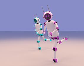 3D model Cartoon Cute Couple Robot