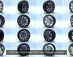 ORTAS CAR RIM 59-60 GAME READY RIM TIRE AND DISC 3D model