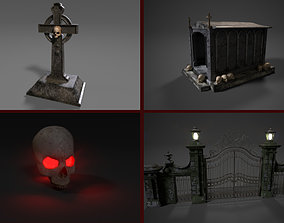 Cemetery Pack Game Ready Low Poly 3D asset realtime