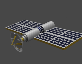 Low-poly Satellite 3D asset game-ready