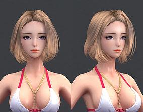 3D Cartoon polygon hair 08