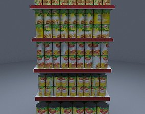 3D model Gondola Shelves with Canned Fruits Juices