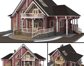 Log house - rounded log 3D terrace